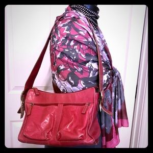 Soft Leather Dark Pink Shoulder tote bag purse